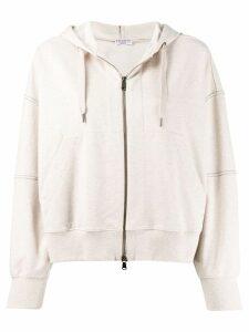 Brunello Cucinelli zipped drawstring hoodie - Neutrals