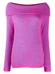 Blumarine off-the-shoulder sweatshirt - Blue