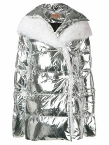Yves Salomon hooded fur-trimmed coat - SILVER