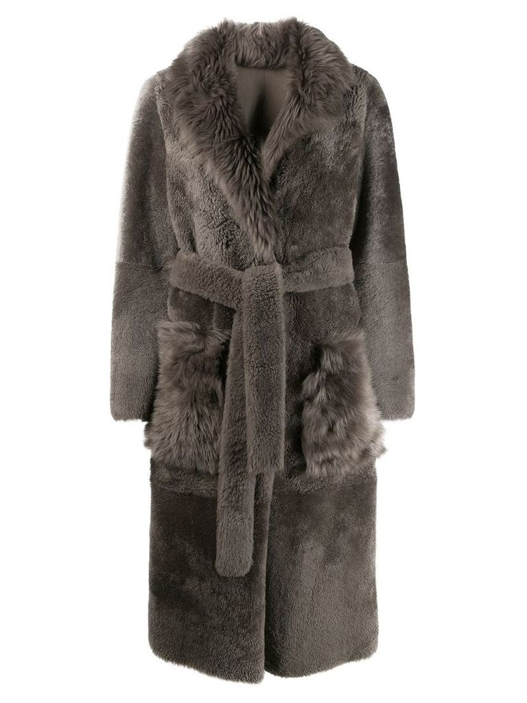 Yves Salomon belted shearling coat - Grey