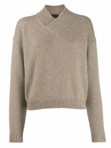Erika Cavallini crossover neck jumper - Neutrals