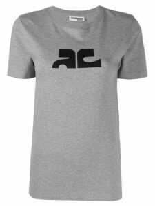 Courrèges contrast logo T-shirt - Grey