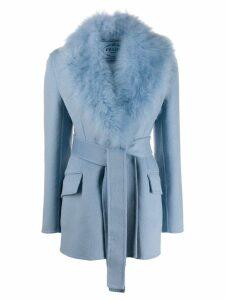 Prada goat fur collar jacket - Blue