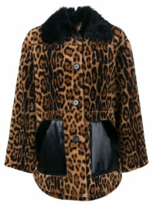 Yves Salomon leopard shearling coat - Brown