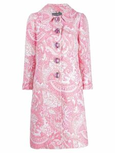 Dolce & Gabbana floral embroidered coat - White