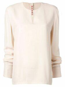 Marni long-sleeve flared blouse - White