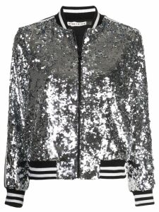Alice+Olivia Lonnie sequin bomber jacket - Silver