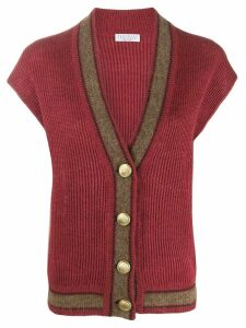Brunello Cucinelli ribbed short-sleeved cardigan - Red