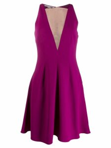 Stella McCartney sheer panel flared dress - PURPLE