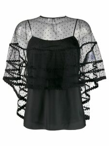 Red Valentino tulle point d'esprit poncho - Black