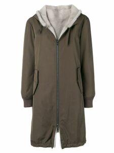 Yves Salomon Army reversible hooded coat - Green