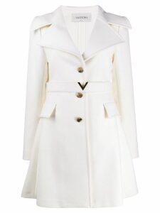Valentino logo belt single-breasted coat - White