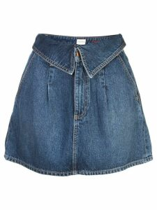 Alice+Olivia foldover waist denim skirt - Blue