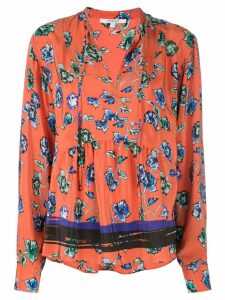 Derek Lam 10 Crosby Long Sleeve French Floral Peplum Blouse with Neck