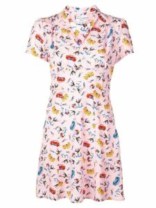 HVN car print dress - Pink