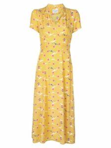 HVN seagull print dress - Yellow