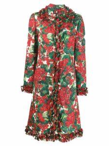 Dolce & Gabbana floral ruffle coat - Red