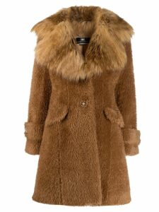 Elisabetta Franchi faux-fur midi coat - Brown