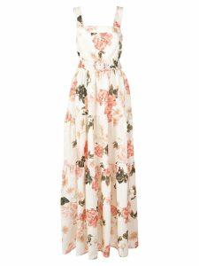 Nicholas long floral day dress - White