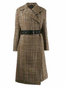 Erika Cavallini belted tweed coat - Brown
