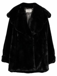 We11done faux fur oversized coat - Black