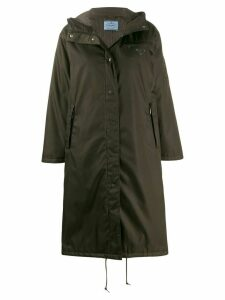 Prada hooded gabardine style coat - Green