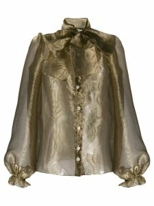 Dolce & Gabbana sheer pussy bow blouse - Green