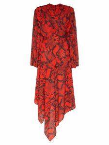 Solace London Nelli snake-print asymmetric dress - Red