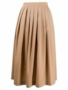 Agnona pleated midi skirt - NEUTRALS