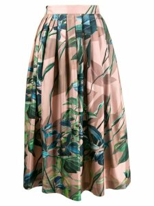 Agnona pleated floral print skirt - Pink