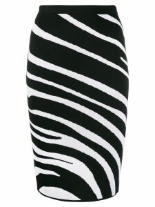 Versace zebra pattern knitted pencil skirt - Black