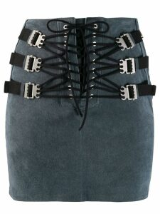 Unravel Project lace-up mini skirt - Blue