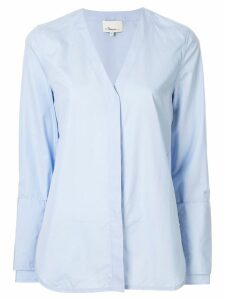 3.1 Phillip Lim faux pearl V neck shirt - Blue