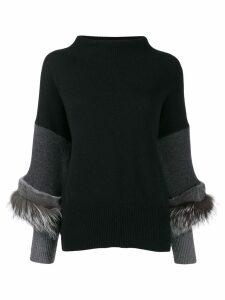 Agnona knit mink fur trim jumper - Black