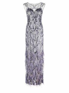 Aidan Mattox embroidered evening dress - Grey