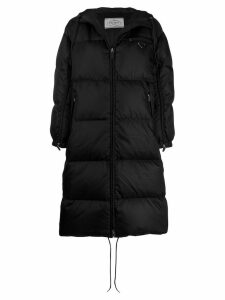 Prada feather down zipped long coat - Black