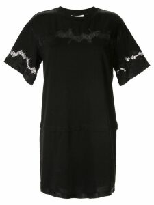 3.1 Phillip Lim Lace Insert Satin T-shirt Dress - Black