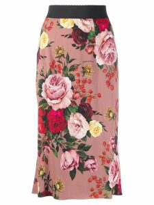 Dolce & Gabbana rose print pencil skirt - Pink