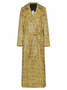 Michael Lo Sordo snake-print belted trench coat - Yellow
