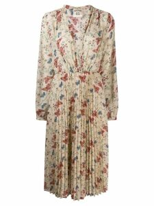 Semicouture pleated floral dress - Neutrals