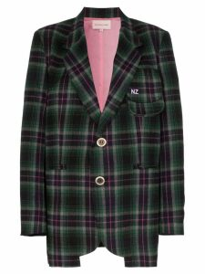Natasha Zinko oversized checked blazer - Green