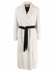 Blancha belted single breasted coat - White