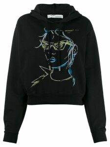 Off-White illustrated face hoodie - Black