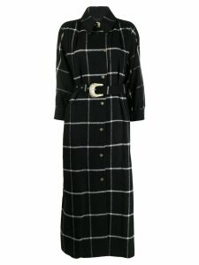 Just Cavalli belted long check print coat - Black