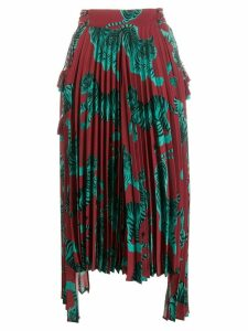 Just Cavalli tiger print pleated skirt - Red