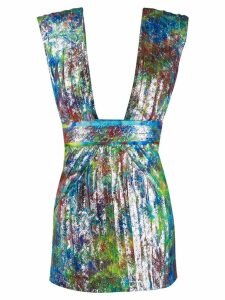 Dsquared2 pleated print cocktail dress - Blue