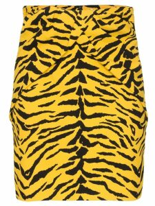Saint Laurent tiger print peplum skirt - Yellow