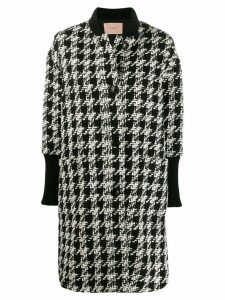Twin-Set houndstooth single breasted coat - Black