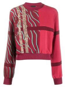 Just Cavalli contrast panelled stripe sweatshirt - Red