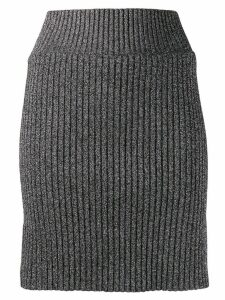 Alberta Ferretti metallic knit skirt - Black
